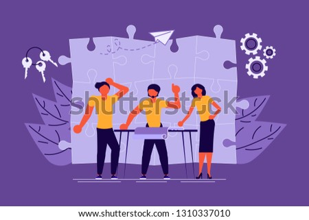Workflow management concept in flat design. Team of young businessmen have a business meeting and brainstorming. Vector illustration eps 10