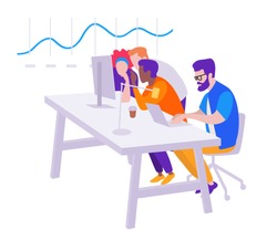 Workflow, office open space, a group of people managers sit at computers and enthusiastically discuss the increase in sales on the chart, vector isometry flat illustration