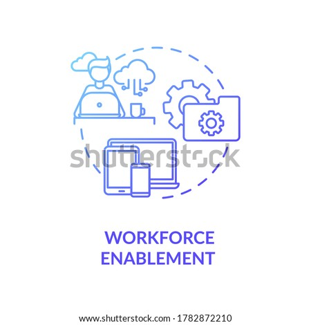 Workforce enablement blue gradient concept icon. Digital workspace for IT department employee. Improve customer satisfaction idea thin line illustration. Vector isolated outline RGB color drawing Stock foto ©