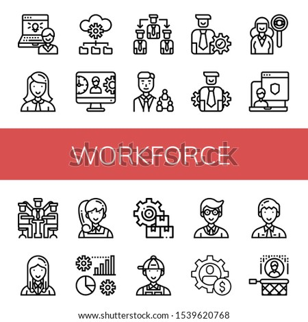 workforce icon set. Collection of Administrator, Manager, Management, Manage, Headhunting icons