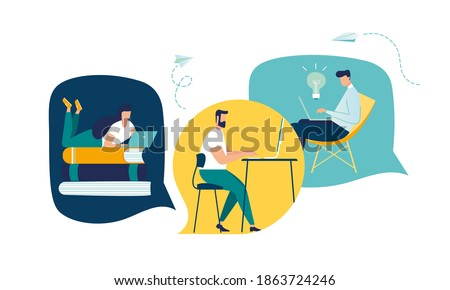 working and meeting workers online, vector team thinking and brainstorming, company information analytics, self-isolation, vector illustration