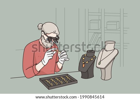 Working as jeweler in jewerely store concept. Grey haired man cartoon character sitting examining diamond with special glasses working as jeweler vector illustration