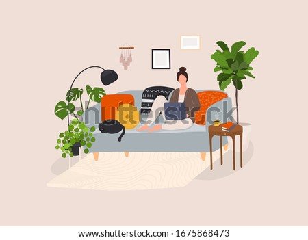 Working at home, coworking space, concept illustration. Cute girl sitting in comfy couch. Foto stock ©