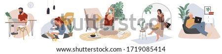 Working at home, coworking space  concept in white background. Young people, man and woman freelancers working on laptops. People at home in quarantine (corona). Vector illustration in a flat style. Photo stock ©