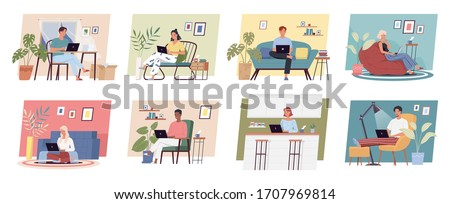 Working at home. Freelance people work in comfortable conditions set vector flat illustration. Freelancer character man and woman working on laptops at home. People at home in quarantine concept
