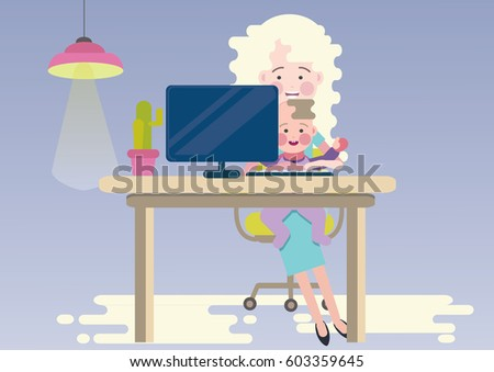 Working At Home Mother, Freelancer With Baby. Happy And Multitasking