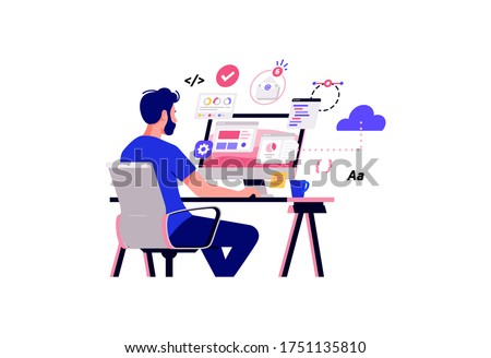 Working at home vector flat style illustration. Online career. Coworking space illustration. Young man freelancers working on laptop or computer at home. Study at home in quarantine