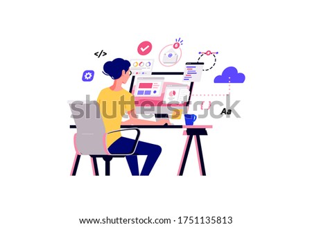 Working at home vector flat style illustration. Online career. Coworking space illustration. Young woman freelancers working on laptop or computer at home. Developer at home in quarantine.