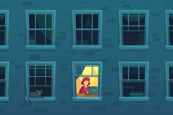 Working at night. Busy workaholic works home at nights when neighbors asleep, lonely man in window frame. Designer freelancer or it programmer job deadline cartoon vector illustration