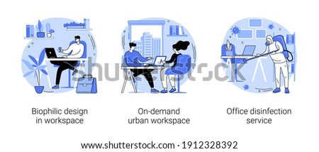 Working conditions abstract concept vector illustration set. Biophilic design in workspace, on-demand urban workplace, office disinfection service, employee safety, nature abstract metaphor.