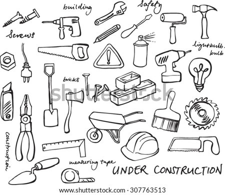 Working construction tools doodles collection
