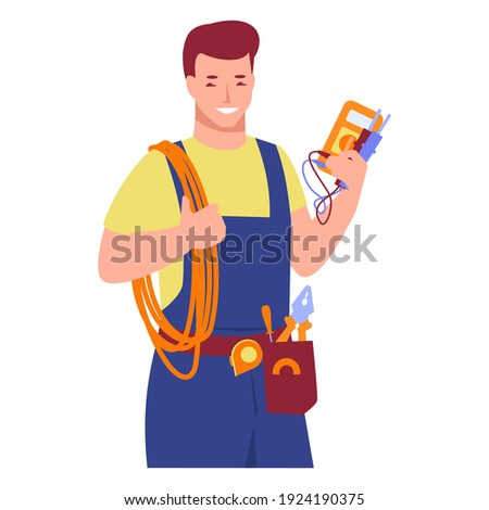 Working electrician with tools. Wires, tester in hands. Vector illustration in flat cartoon style. Isolated on a white background. ストックフォト ©
