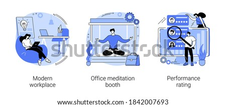 Working environment and productivity abstract concept vector illustration set. Modern workplace, office meditation booth, performance rating, employee happiness and wellbeing abstract metaphor.