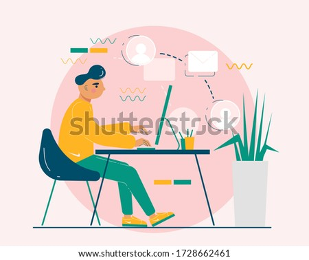 Working from home vector illustration. Home office background. Social distancing while coronavirus pandemy. Stay home during n-Cov19 outbreak. Foto stock ©