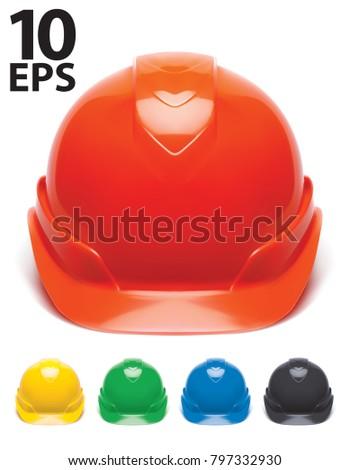 Working Hard Hat set. Safety Helmet isolated on White. Vector 3d Illustration