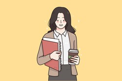 Working in office, business success, leadership concept. Young smiling business woman standing with coffee and documents in hands and feeling confident going to office vector illustration