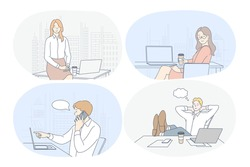 Working in office, laptop, modern company interior, startup, online communication concept. Young woman and man cartoon characters sitting on workplace, working on notebooks, communicating, thinking