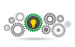 working mechanism of various gears with an included light bulb inside. the concept of teamwork on an idea. vector illustration isolated on white background