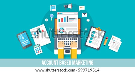Working on account based marketing flat vector banner, research, analysis, marketing strategy modern concept with icons and elements