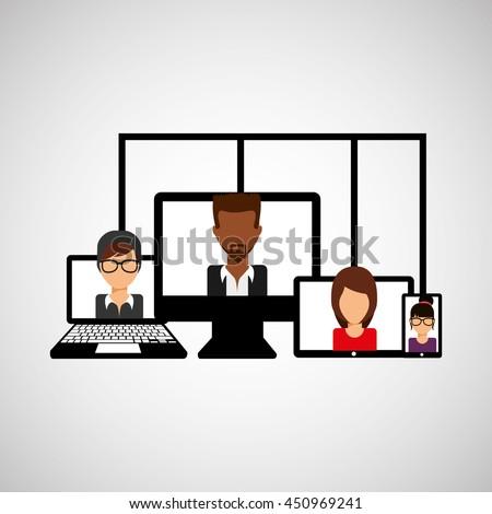 working on computer,teamwork cooperation icon, vector illustration