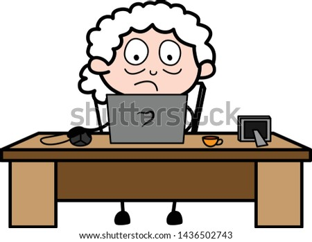 Working on Laptop - Old Woman Cartoon Granny Vector Illustration