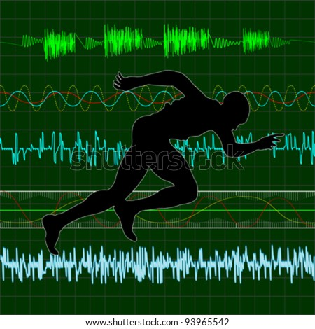 Working out, running exercise with cardiac curves background - stock vector