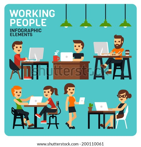 Working People Infographic Elements