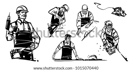 Working professional with a drill looks at the camera. Carpenter cutting wooden plank. Man working with an electric planer. The worker cuts the board on a circular saw.