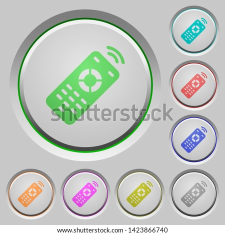 Working remote control color icons on sunk push buttons