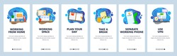 Working remotely from home. Take rest, plan day. Use separate phone, vpn. Home workspace. Mobile app screens. Vector banner template for website and mobile development. Web site design illustration.