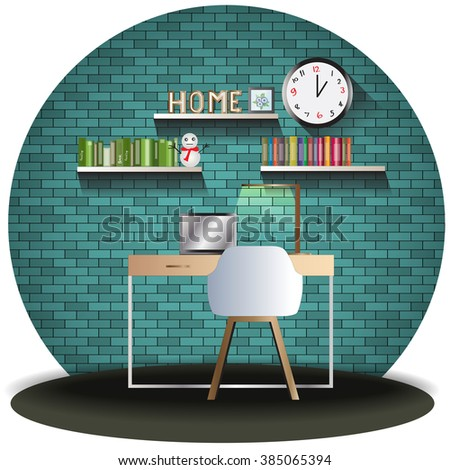 working room elevation set with brick background for interior