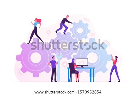 Working Routine Process and Teamwork Concept. Male and Female Characters Moving Huge Gear Mechanism Using Wrench, Feet and Arms. Woman Managing Cogwheel Process at Pc. Cartoon Flat Vector Illustration Stock photo ©