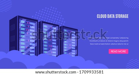 Working server server cabinets. Data storage, cloud storage, data center concept. Flat style banner design.
