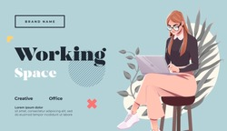 Working space Landing page template. Young female freelancer is sitting in modern hipster cafe with laptopn. Vector illustration