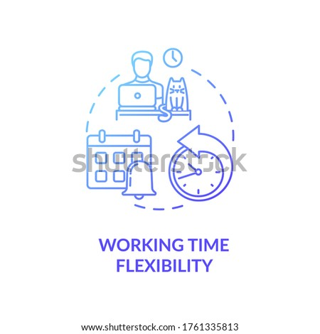 Working time flexibility blue gradient concept icon. Freelancer benefit. Time management. Remote position for company idea thin line illustration. Vector isolated outline RGB color drawing