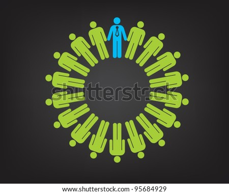Working together team concept. Men and boss icon. Vector illustration version.