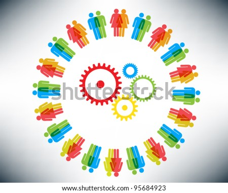 Working together team concept. Men and Women icon gears and cogwheels. Vector illustration version.