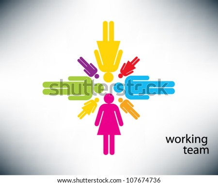 Working together team concept. People icons with colors, conceptual teamwork. Vector illustration version.