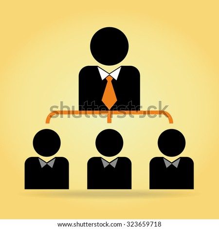 Working together team concept.  Vector illustration on yellow background.