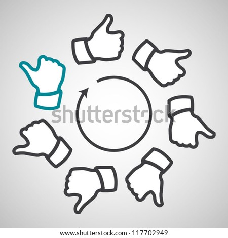 Working together team modern thumb up concept sign