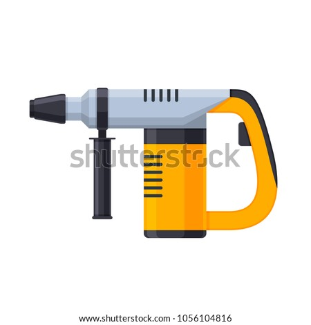 Working tool for construction, finishing, carpentry and repair work. Manual, electric hammer drill with drills. Tool for drilling holes in materials. Vector illustration isolated.