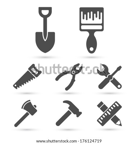 Working tool Icons on white. Vector design elements