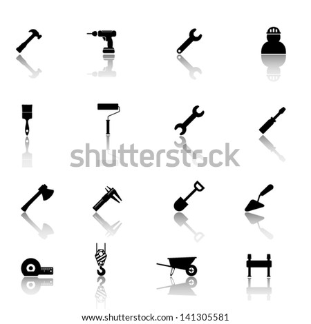 Working tools black icon set