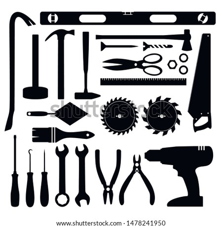 Working tools icon. Tools silhouette. Home repairs. Vector illustration isolated.