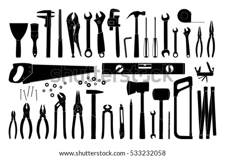 Working tools icon. Tools silhouette. Repair and construction tools collection. Vector illustration