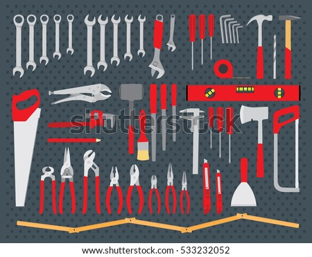 Working tools set. Repair and construction tools. Do it yourself tools. Flat vector illustration