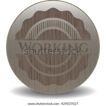 Working vintage wood emblem