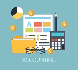Working with financial papers. Accounting concept. Organization process, analytics, research, planning, report, market analysis. Flat style vector