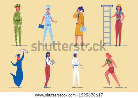Working Women Diverse Professions and Occupations Characters Set. Girls Power and Gender Equality. Military, Sport, Education and Restaurant Staff Female Employees. Flat Vector Illustration Isolated.