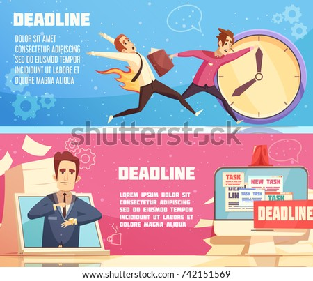 Workloads deadline pressures work stress for managers leaders and burning out cartoon symbols 2 horizontal banners vector illustration